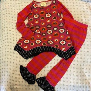 Cheeky Smyle Pink and Orange Ruffle Outfit Size 4